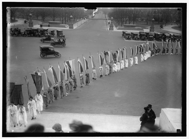 WOMAN SUFFRAGE AT CAPITOL WITH BANNERS