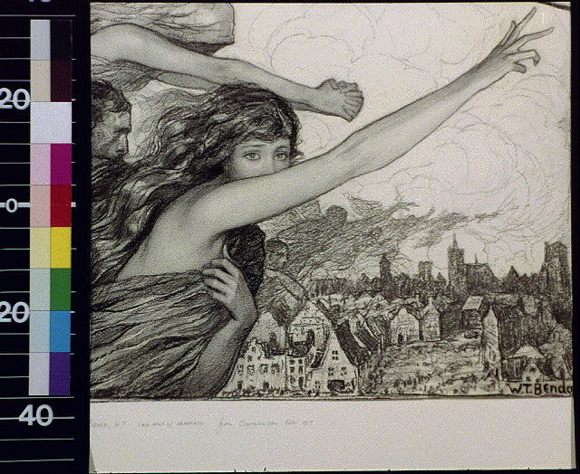 [Woman with outstretched gesture and other spirits over townscape]