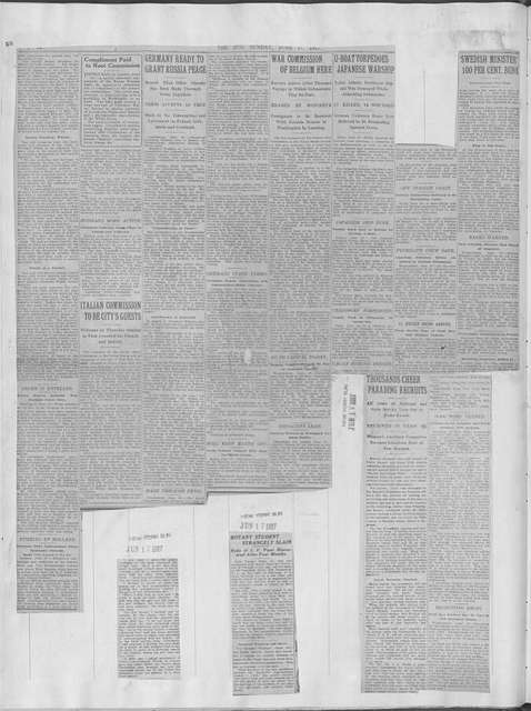 World War history : daily records and comments as appeared in American and foreign newspapers, 1914-1926 (New York), June 16, 1917, (1917 June 16-21)