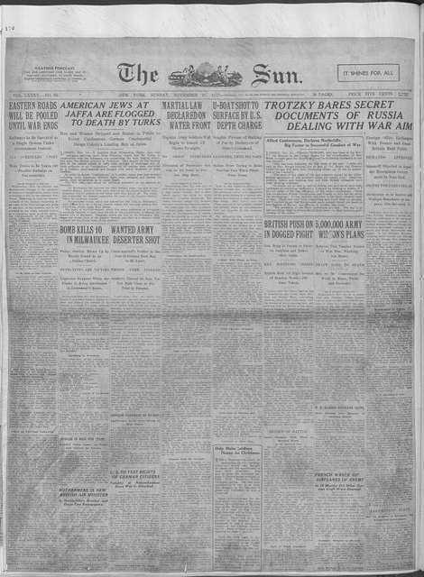 World War history : daily records and comments as appeared in American and foreign newspapers, 1914-1926 (New York), November 19, 1917, (1917 November 19-25)