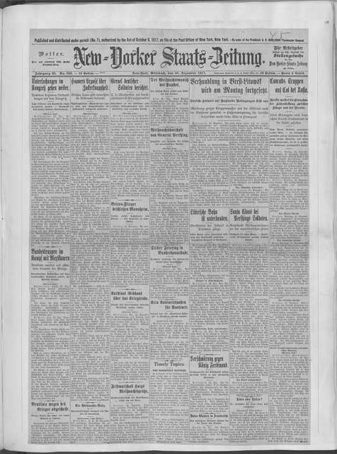 World War history : daily records and comments as appeared in American and foreign newspapers, 1914-1926 (New York), December 23, 1917, (1917 December 23-28)
