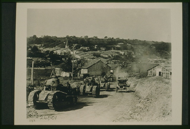 337th Co, 13 Bat 505th Reg--French tanks passing thru Rampont, Fr. Oct 10/18 / Signal Corps U.S.A.