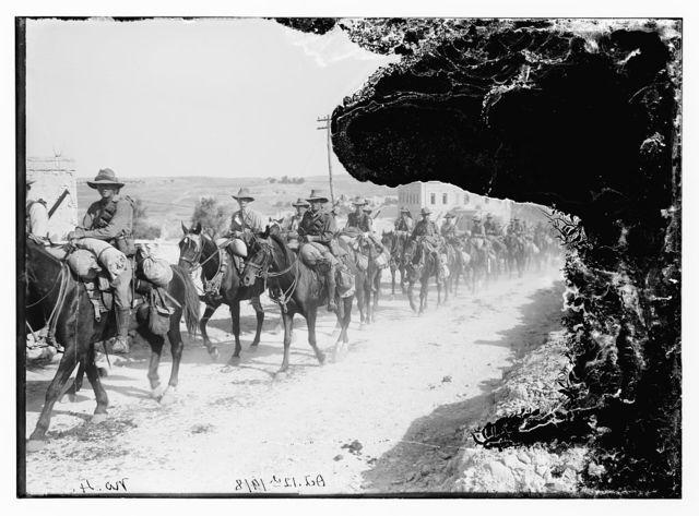[6th Australian light-horse regiment leaving Jerusalem for demobilisation camp. Oct. 12th, 1918]