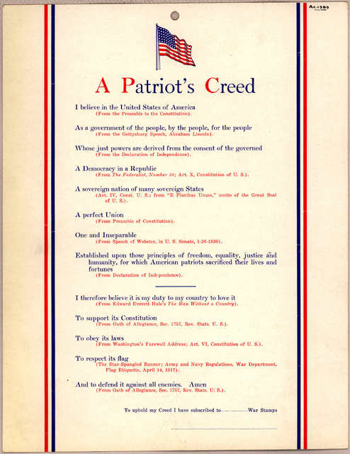 A patriot's creed ... To uphold my creed I have subscribed to War stamps. [1918].