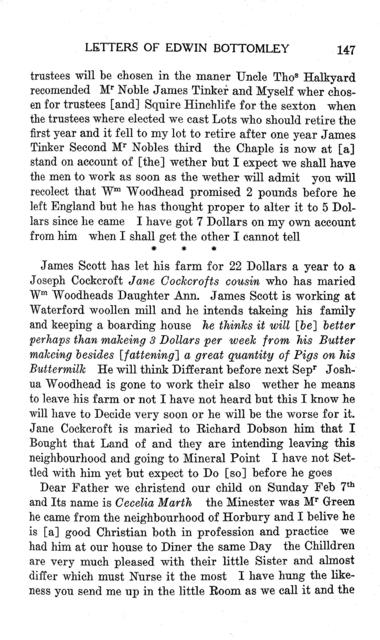 An English settler in pioneer Wisconsin; the letters of Edwin Bottomley, 1842-1850.