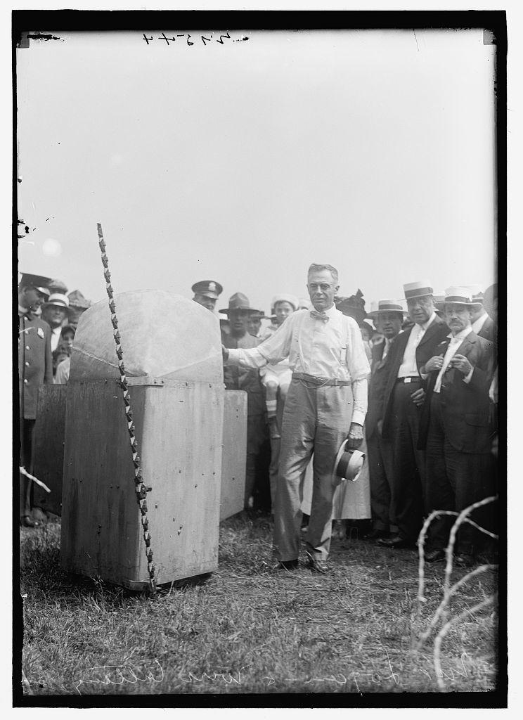 ARMY, U.S. WIRE CUTTING MACHINE WITH INVENTOR, JOHN E. LOGAN
