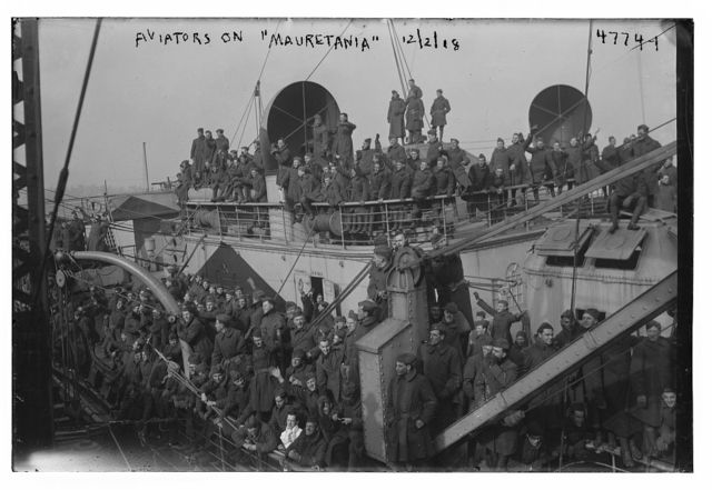 Aviators on MAURETANIA, 1918