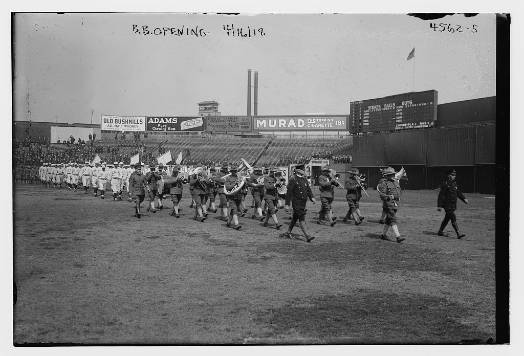 [Band and players march for Giants' home opener, Polo Grounds, New York (baseball)]