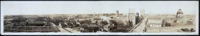 Birds eye view, Charlotte, N.C., looking north, showing Camp Greene in the background on the left