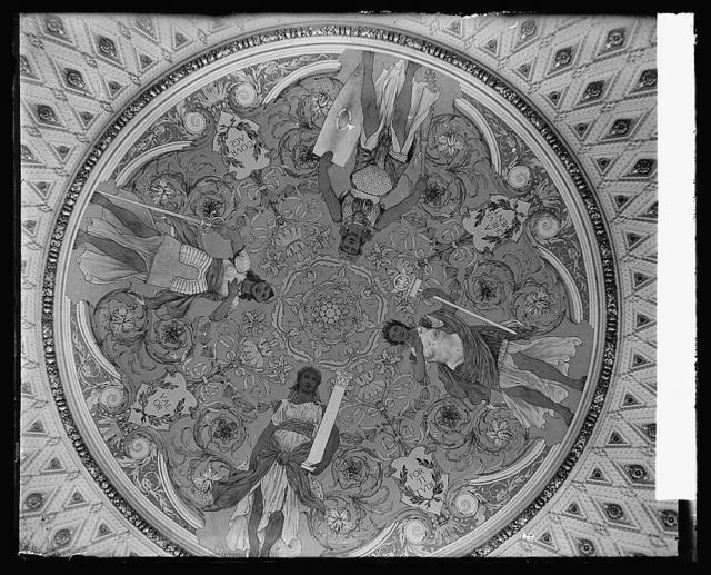 Ceiling, Library [of Congress, Thomas Jefferson Building, second floor, southwest pavilion of the Discoverers showing mural by George W. Maynard, Washington, D.C.]