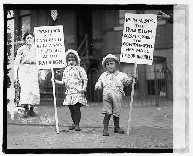 Children pickets at Raleigh Hotel waiters strike