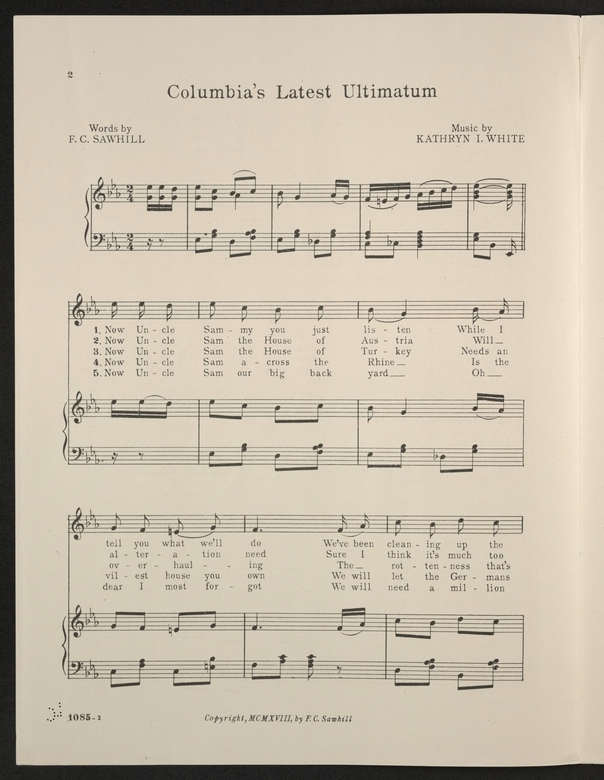 Columbia's latest ultimatum song