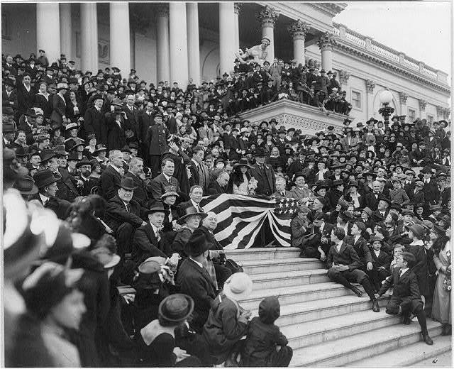 D.C. Washington. World War I. View of central steps of Capitol, where movie stars are selling Liberty Bonds