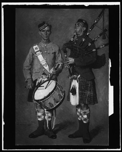[Drummer and bagpipe player in Scottish uniform]