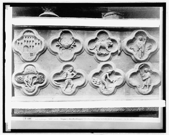 France. Signs of the Zodiac, Cathedral Amiens