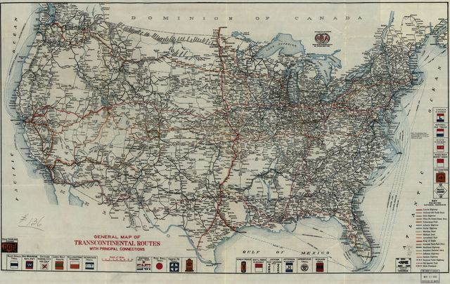 General map of transcontinental routes with principal connections.