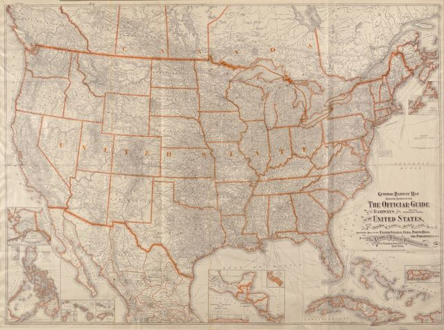 General railway map engraved expressly for the Official guide of the railways and steam navigation lines of the United States, Porto[sic] Rico, Canada, Mexico and Cuba : comprising maps of the United States, Cuba, Porto [sic] Rico.