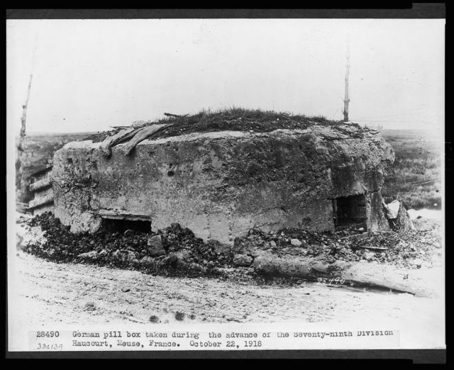 German pill box taken during the advance of the Seventy-ninth Division, Haucourt, Meuse, France