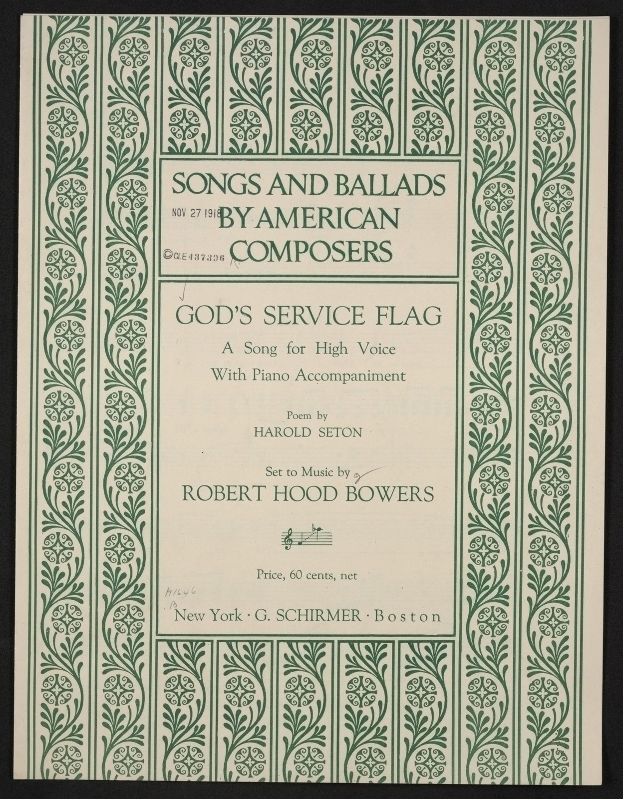 God's service flag a song for high voice with piano accompaniment