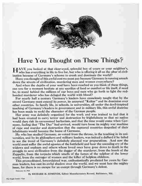 Have you thought on these things? ... By Richard H. Edmonds, Editor Manufacturers Record, Baltimore. Md. February 14, 1918.