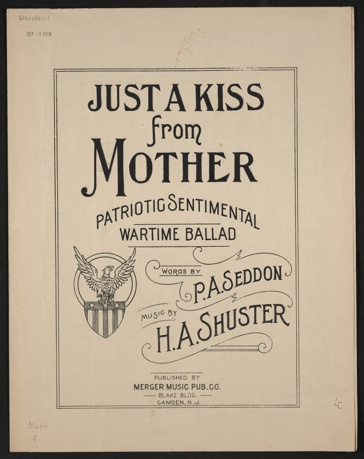 Just a kiss from mother patriotic sentimental wartime ballad