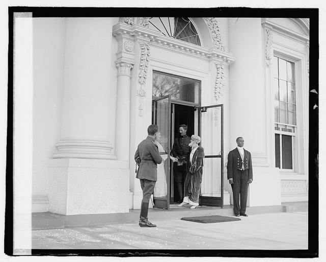 King Albert & Queen Elizabeth shaking hands with Mrs. Wilson at White House, [Washington, D.C.]