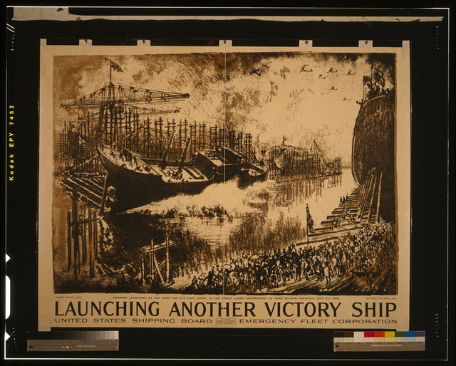 Launching another victory ship United States Shipping Board, Emergency Fleet Corporation / / Ioseph Pennell del. ; Ketterlinus Phila. imp.