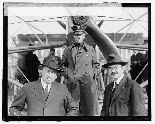 Left: Jus. Jacob Rogers, Mass.; Center: Commander Reed [i.e., Read], N.C. 4; Right: Willfred W. Lufkin, Mass.