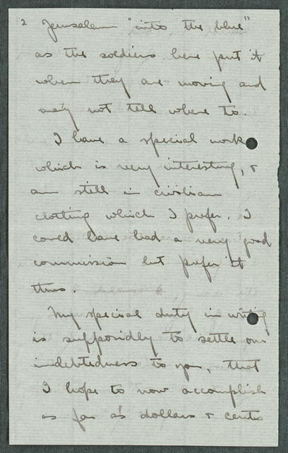 Letter from American Colony (John D. Whiting) to Edward F. Loud