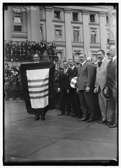 LIBERTY LOANS. FRENCH LEGIONNAIRES AND THEIR FLAG; LIBERTY LOAN DRIVE