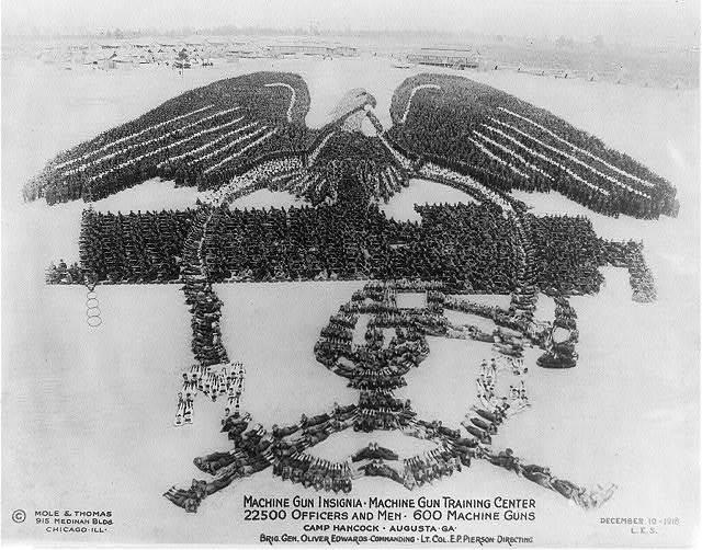 Machine Gun Insignia; Machine Gun Training Center; 22500 officers and men, 600 machine guns; Camp Hancock, Augusta, Ga.; Brig. Gen. Oliver Edwards, commanding; Lt. Col. E.P. Pierson, directing