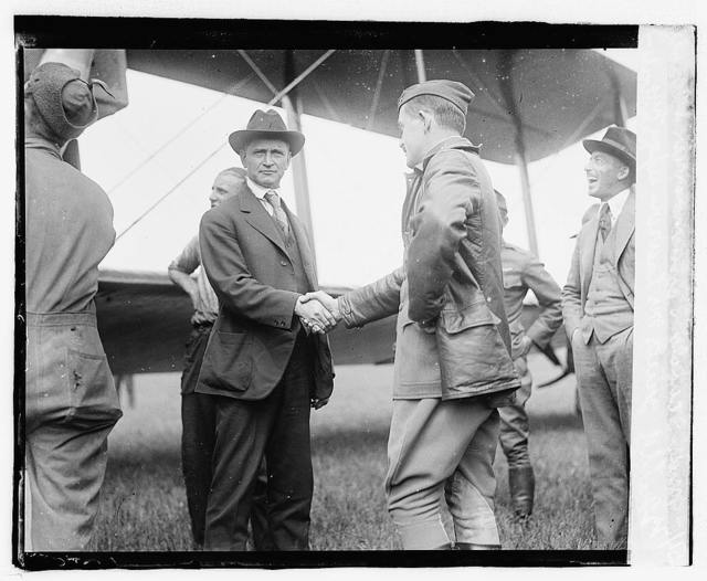 Maj. Scanlon, Commander at Bolling field, greets Mr. Lawson upon his arrival