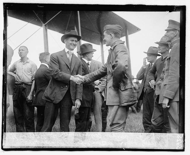 Maj. Scanlon, Commander at Bolling field, greets Mr Lawson upon his arrival