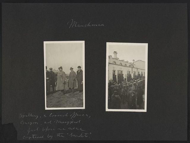 """Manchuria. Hawley, a Cossack officer, Gregor, and Musgjerd. Just before we were captured by the """"bandits."""" [Chinese soldiers]"""