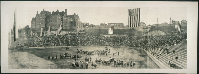 Military horsemanship show, Remount Station, Camp Lewis, staged in stadium, Tacoma, Wash., July 4, 1918
