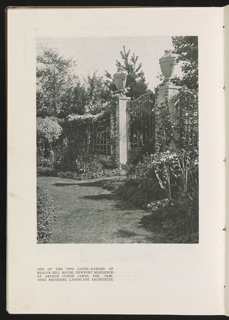 One of the two gates--garden at Beacon Hill House, Newport residence of Arthur Curtis James, Esq. Olmsted Brothers, Landscape architects