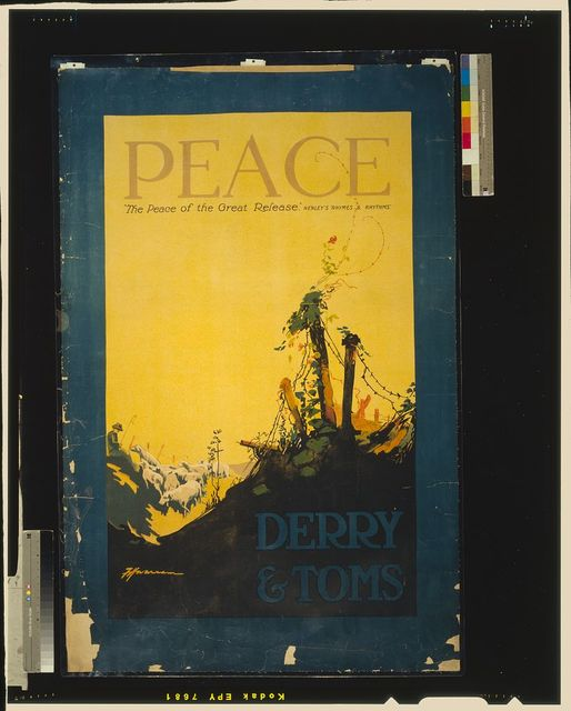 "Peace. ""The peace of the great release,"" Henley's ""Rhymes & Rhythms"", Derry & Toms / F.H. Warren."