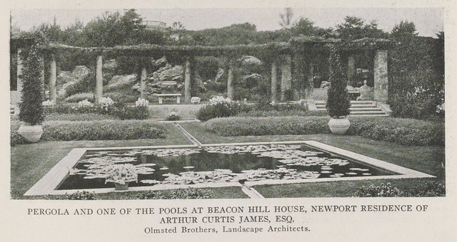 Pergola and one of the pools at Beacon Hill House, Newport residence of Arthur Curtis James, Esq. Olmsted Brothers, Landscape Architects