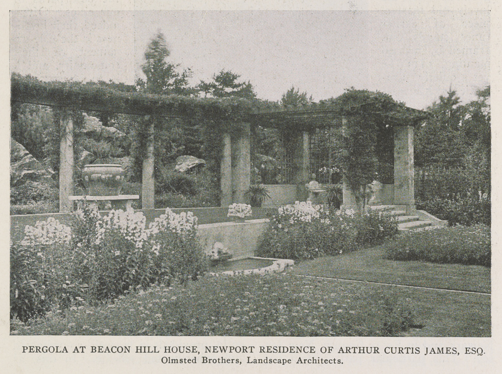Pergola at Beacon Hill House, Newport residence of Arthur Curtis James, Esq.; Olmsted Brothers, landscape architects