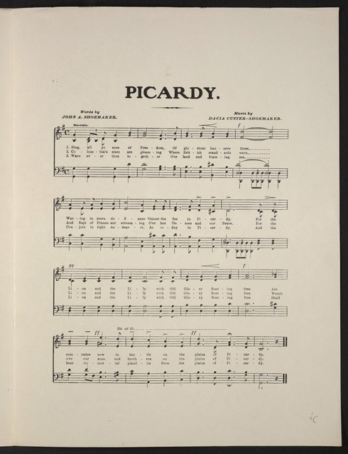 Picardy a martial hymn, commemorating the Battle of Picardy, in which the United States of America, England and France joined arms for the first time in history, against a common foe