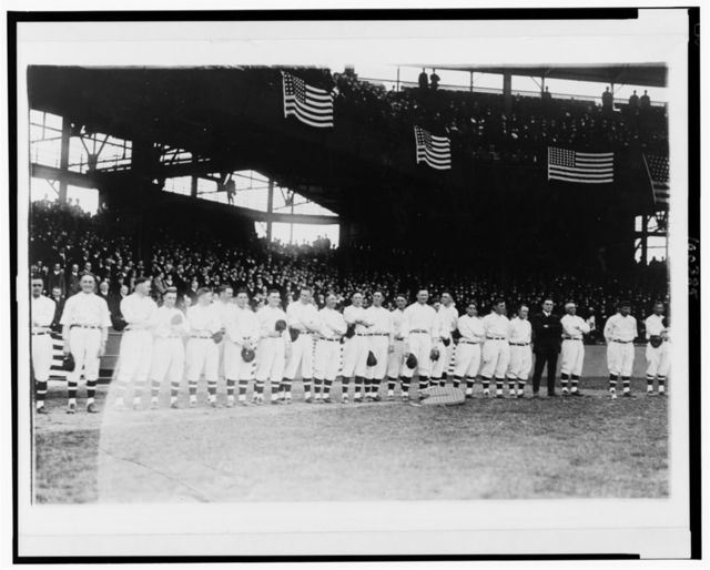 Players assembled for the opening ball game, Griffith Stadium, Washington, D.C.