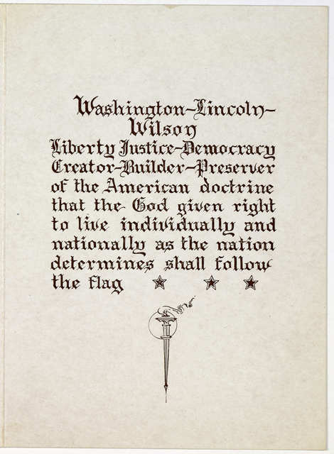 [Portrait vignettes of Washington, Lincoln, and Wilson. Compliments of Ede Mae, prima donna, Ira A. Miller. manager, Fred Jacobs, agent] [s. 1., s. n., ca. 1918].