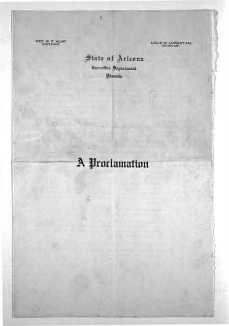 [Proclamation convening the Legislature of the state of Arizona in special session May 1st 1918.]