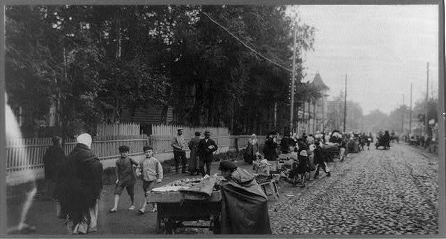 [Pushcart merchants in suburbs selling small garden products, Petrograd, Russia]