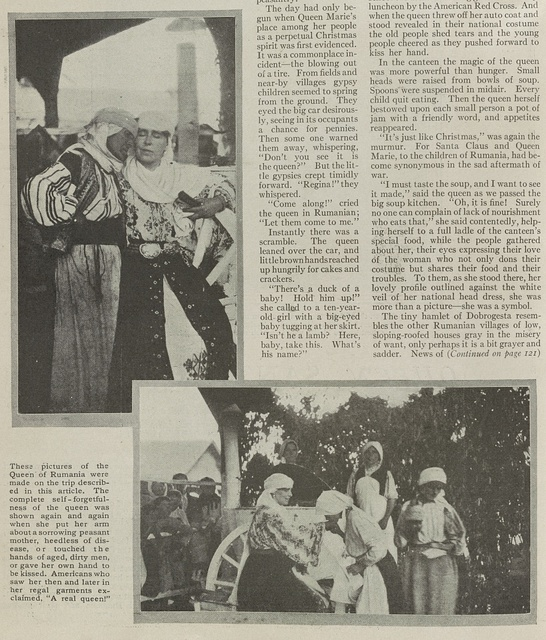 [Queen Marie of Romania, in traditional Romanian dress, visiting peasants in the region of Pitesti]