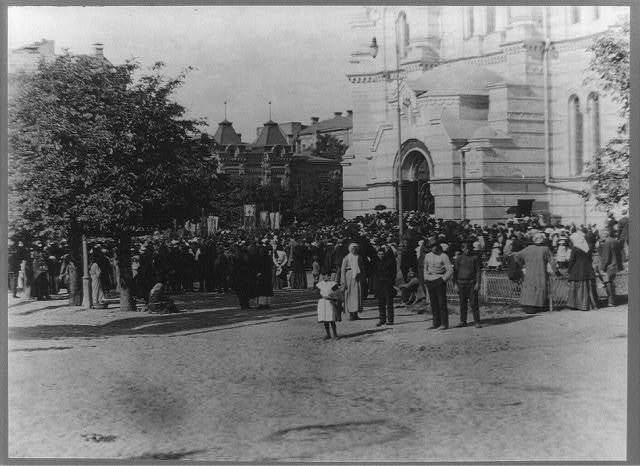 [Religious services held in front of the church, St. Vladimir, Kiev, Russia]