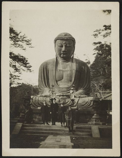 Reynolds, Dewart, Olsen, and I in front of the Daibutsu (image of Buddha) at Kamakura This is also one of Olsen's pictures.