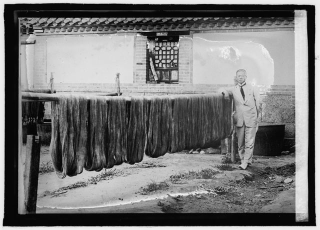 Silk Mfg. In China. Drying and throwing the silk fiber and preparing the warp and weft for weaving