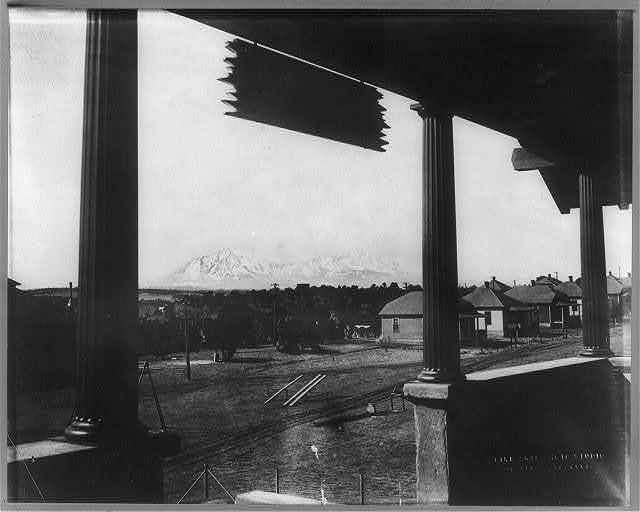 Spanish Peaks from Y.M.C.A. Club House, Cameron, Colorado