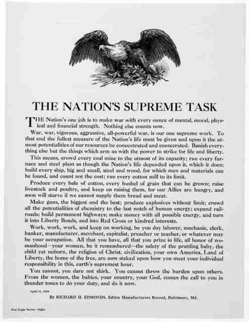 The nation's supreme task ... By Richard H. Edmonds, Editor Manufacturers Record, Baltimore, Md. April 11, 1918.